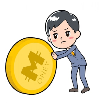 Out line businessman coin push