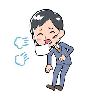 Out line businessman sneezing