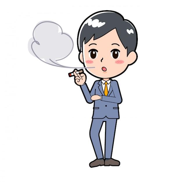 Out line businessman tobacco