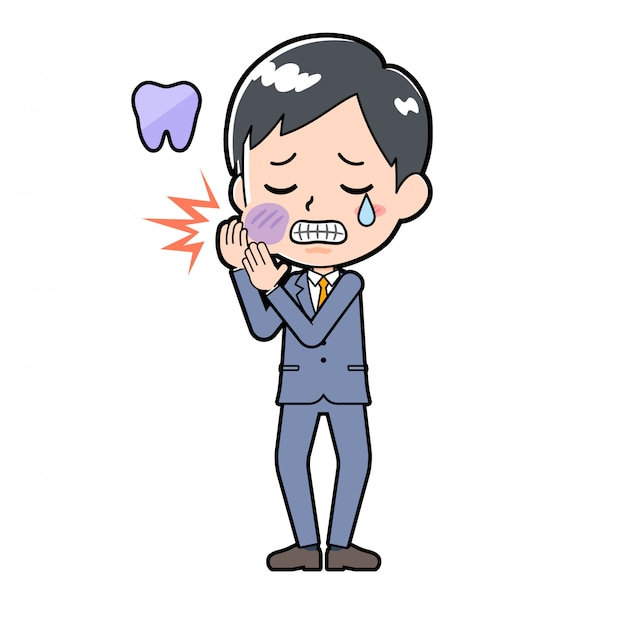 Out line businessman toothache