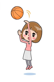 Out line pink clothes women basketball
