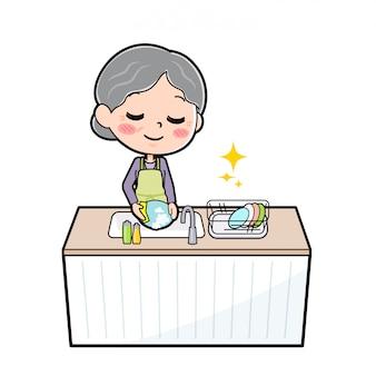 Out line purple wear grandma cook dishwash