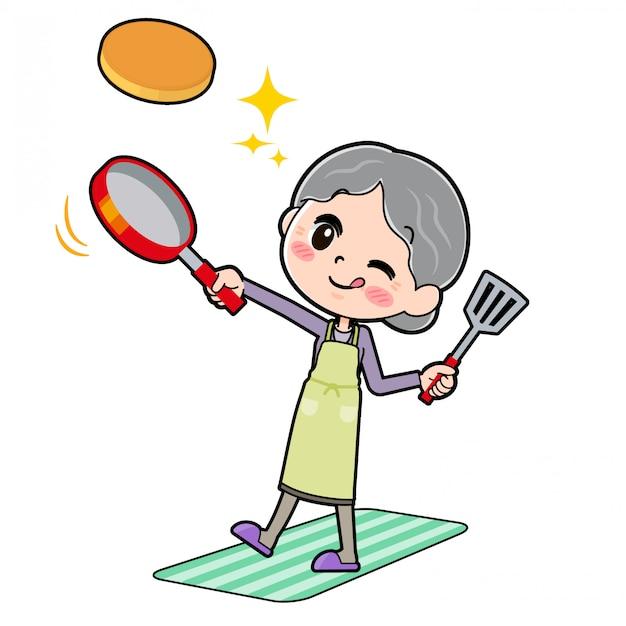 Out line purple wear grandma cook hotcake