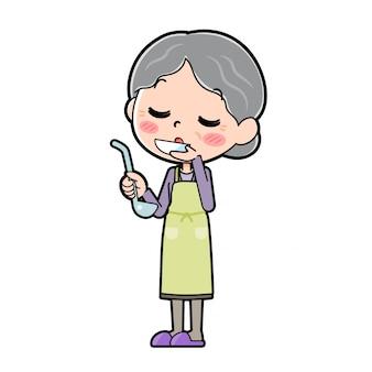 Out line purple wear grandma cook tasting