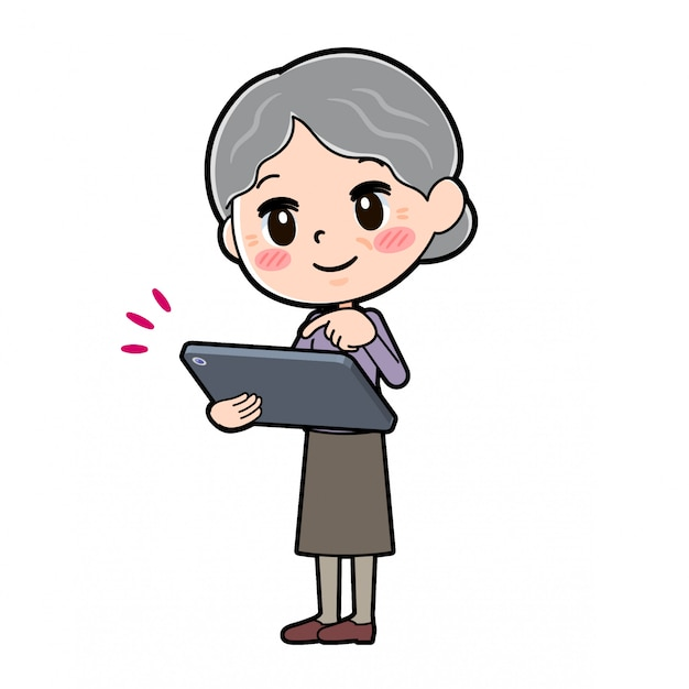 Out line purple wear grandma tablet touch