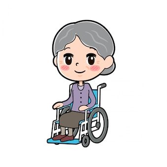 アウトラインパープルウェアおばあちゃん車椅子