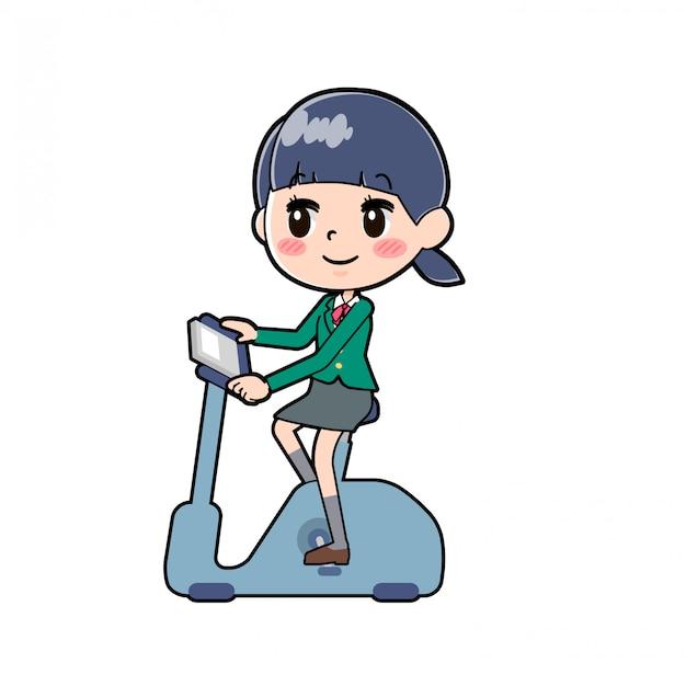 Out line school girl green aero bike