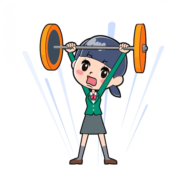 Out line school girl green barbell
