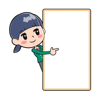 Out line school girl green board hansin navi