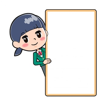 Out line school girl green board hansin