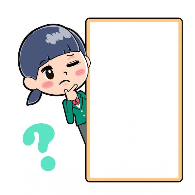 Out line school girl green board peep question