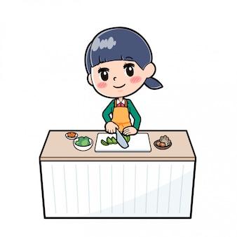 アウトラインスクールガールgreen_cook-cut