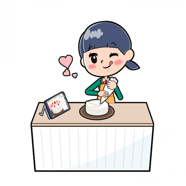 Out line school girl green_cook-deco