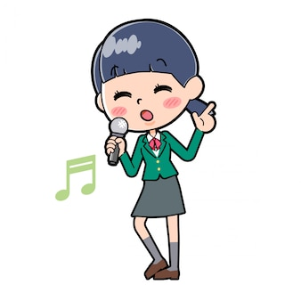 Out line школьница green_singing