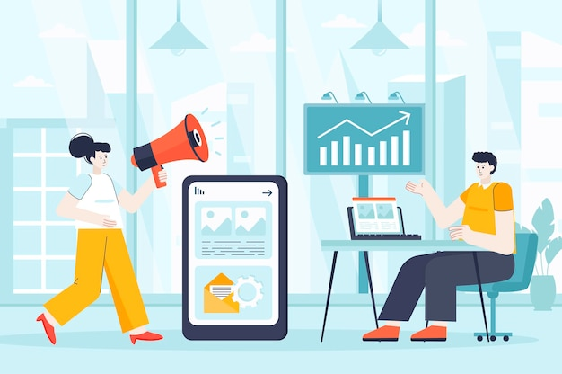 Outbound marketing concept in flat design illustration of people characters for landing page