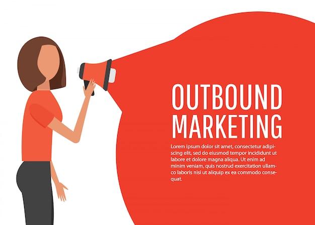 アウトバウンドマーケティングコンセプト。オンライン広告とビジネスプロモーション