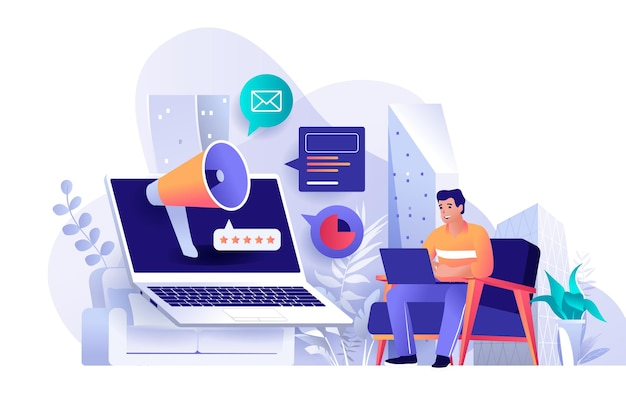 Outbound marketing flat design concept illustration of people characters