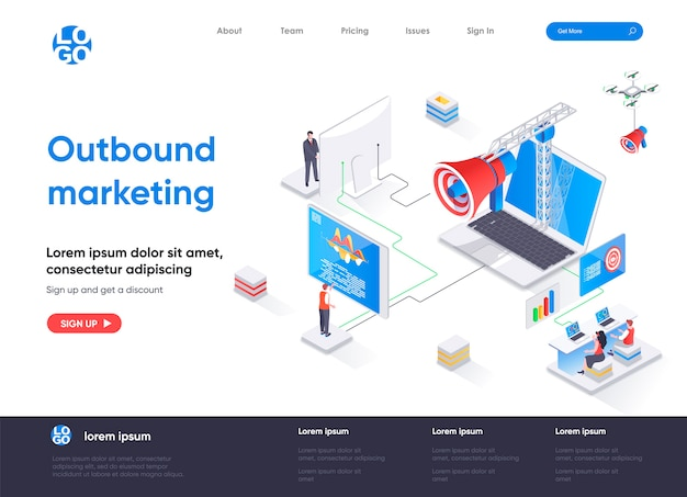 Outbound marketing isometric landing page