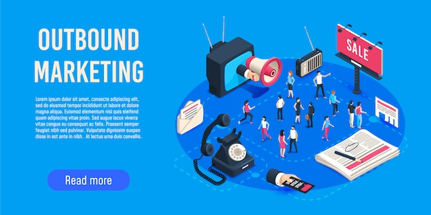 Outbound marketing isometric