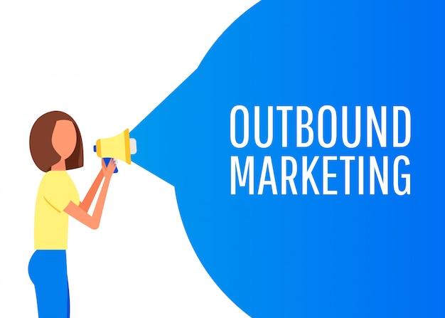 アウトバウンドマーケティング。メガホンのラベル。ビジネス、マーケティング、広告のバナー。