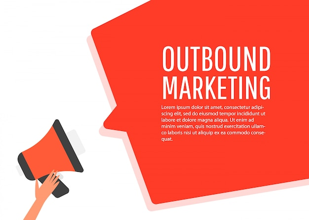 Outbound marketing. megaphone label.