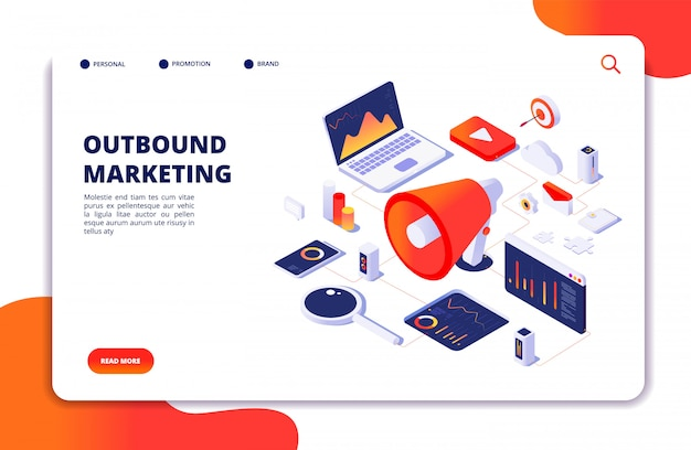 Outbound marketing. social media promotion landing page vector webpage