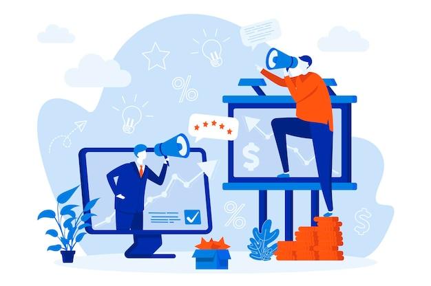사람들이 문자 일러스트와 함께 아웃 바운드 마케팅 웹 컨셉 디자인