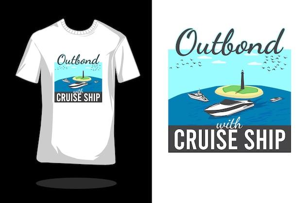 クルーズ船のフラットtシャツのデザインでアウトバウンド