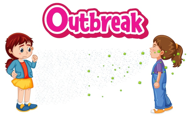 Outbreak font in cartoon style with two kids keeping social distance isolated on white background