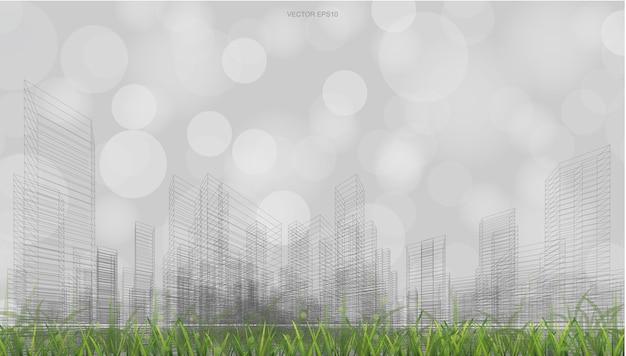 芝生のフィールドと光のぼやけたボケ味の背景とワイヤーフレーム遠近法レンダリングの屋外の抽象的な背景。ベクトルイラスト。