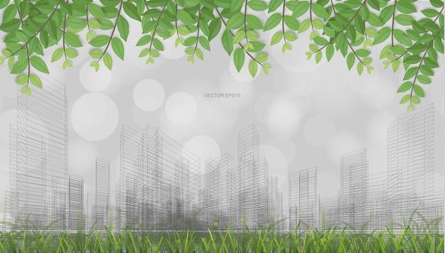 녹색 잎, 잔디 필드 및 밝은 흐릿한 보케 배경으로 와이어프레임 원근 렌더링의 야외 추상 배경. 벡터 일러스트 레이 션.