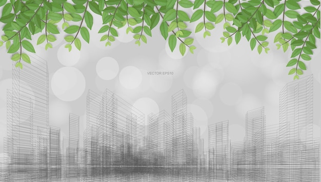 Outdoor abstract background of wireframe perspective rendering with green leaves and light blurred bokeh background. vector illustration.