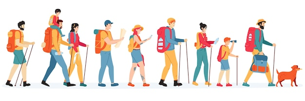 Outdoor active hikers illustration