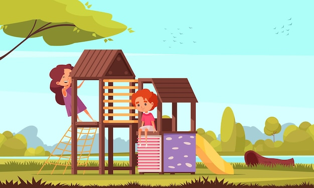 Outdoor activities composition of park landscape with river trees and characters of kids on childrens playground illustration