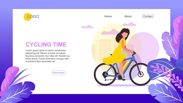 Outdoor activities  and cycling time landing page and fitness  and healthy lifestyle