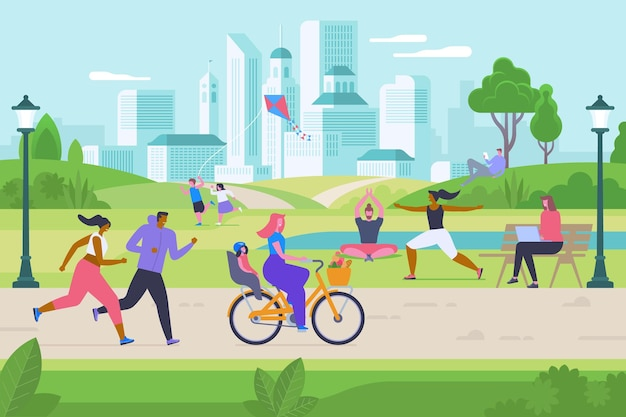 Outdoor activities flat vector illustration. happy men, women and kids in city park cartoon characters. children playing with kite, people do fitness and yoga. jogging, cycling and internet surfing