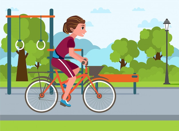 Outdoor activities healthy lifestyle flat drawing.