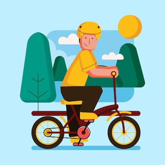Outdoor activities with bicycle illustration