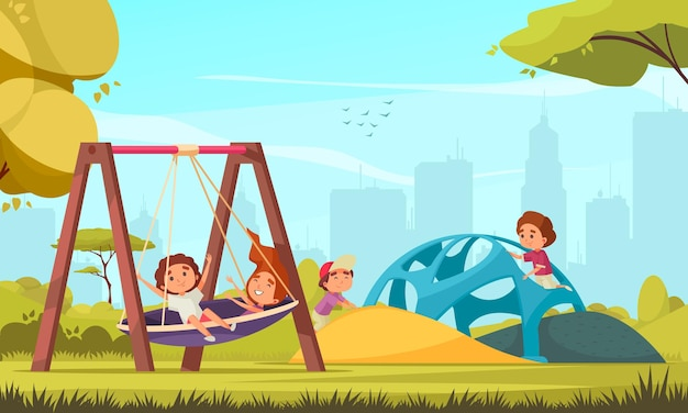 Outdoor activities with characters of playing kids seesaw and sand pit with silhouette of cityscape