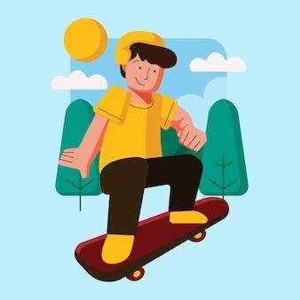 Outdoor activities with skateboarding illustration