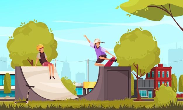 市街地の風景とスケートパーククォーターパイプのイラストでスケートをするティーンエイジャーのキャラクターとの野外活動