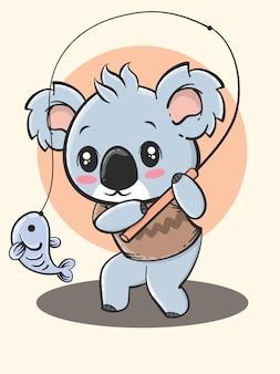 Outdoor activity animal cartoon - koala fishing