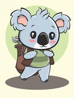 野外活動動物漫画-ゴルフをするコアラ