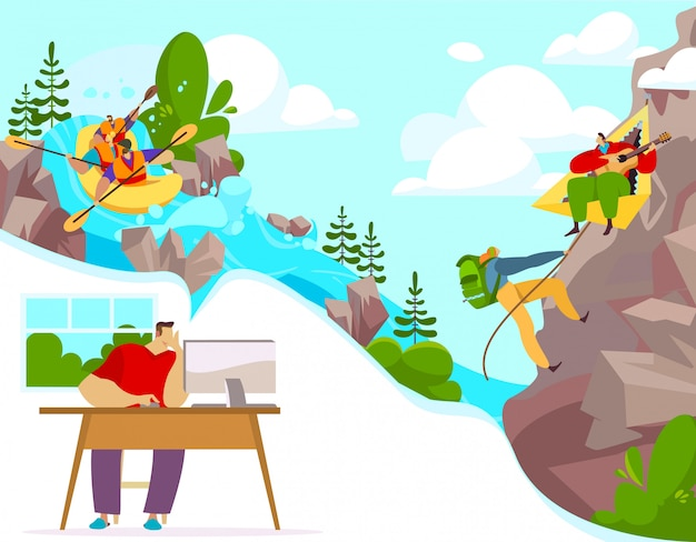 Outdoor activity and extreme sports, people cartoon characters rafting and climbing,  illustration