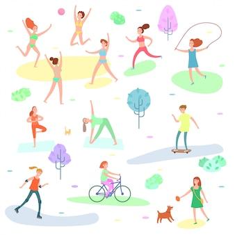 Иллюстрация активного отдыха. спорт, бег людей, йога в парке.