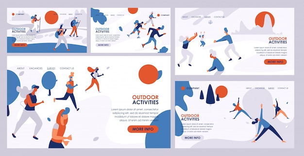 Outdoor activity vector active people hiking training jogging illustration web pag