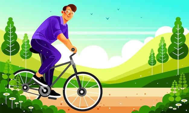 サイクリングを伴うアウトドアアクティビティ