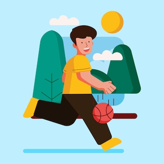Outdoor activity with illustration playing basketball