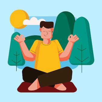 Outdoor activity with yoga illustration