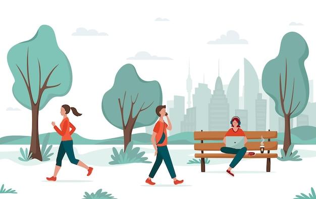 野外活動。街や大学の公園を歩いている若者。ジョギングの女の子、若い男、ベンチにラップトップを持つフリーランサー。都市レクリエーションの概念、大学のキャンパス、リモートワーク。